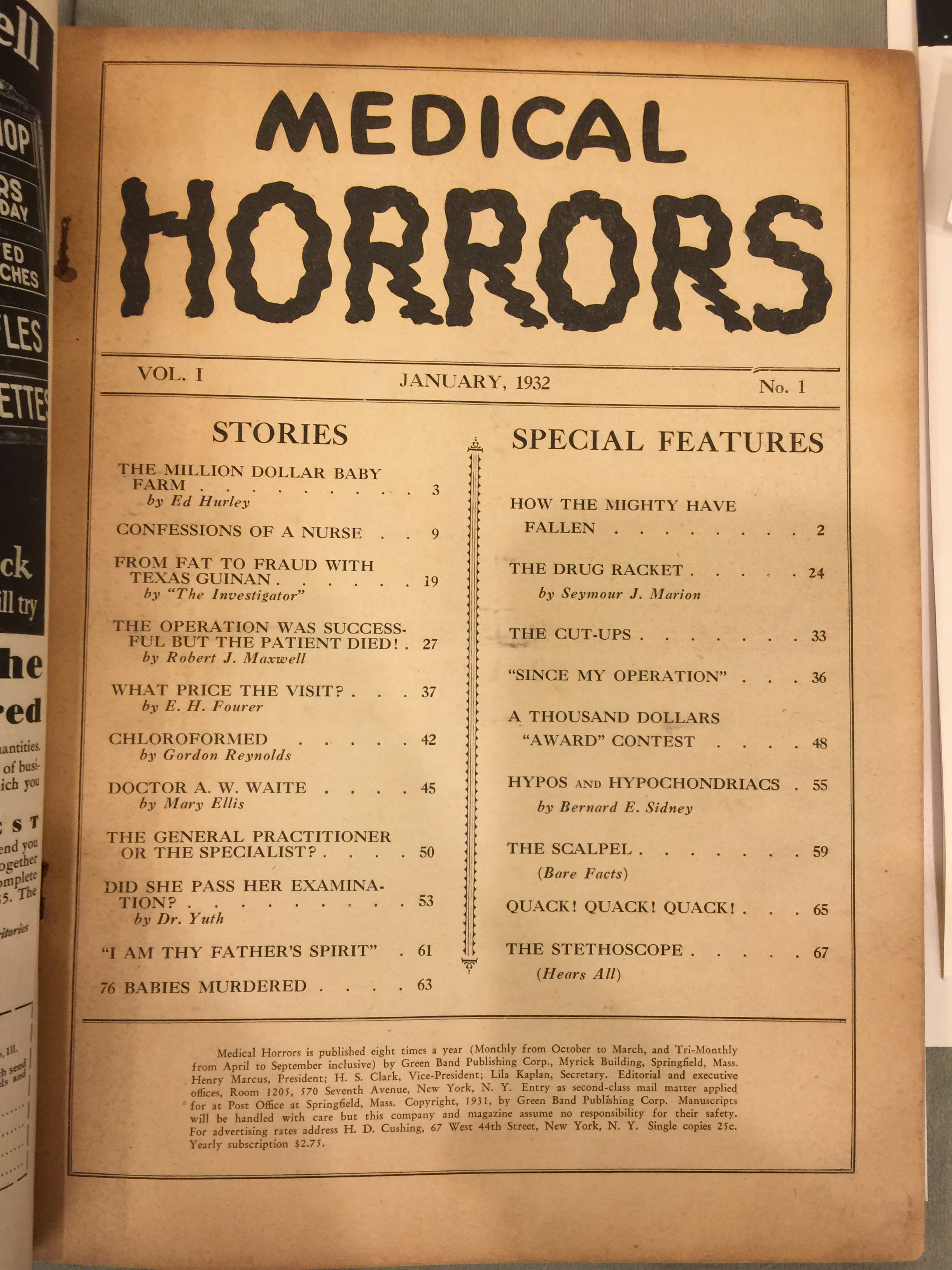 Medical Horrors, #1, table of contents